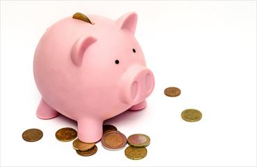 Image of a piggy bank with coins scattered around the bank